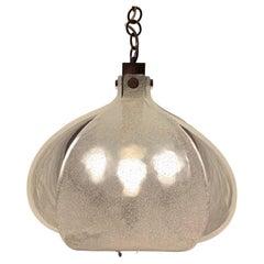 1960s Kaiser Leuchten Murano Frosted Glass and Chrome Ceiling Hanging Light