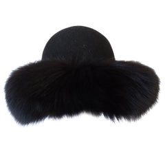 1960s Kates Canada Mink Fur Trim Derby Hat