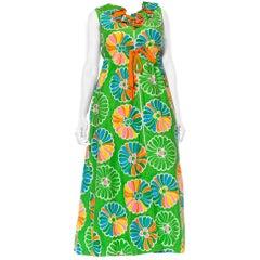 1960S Kelly Green & Orange Cotton Sateen Pinwheel Floral Dress With Pockets