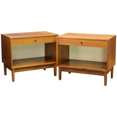 1960s Kipp Stewart Calvin Walnut Night Stand Tables Pair Vintage Mid-Century MCM