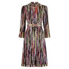 1960s Klevenhands Couture Woven Wool Dress With Matching Belt
