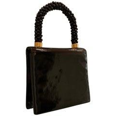 1960s Koret Genuine Black Patent Leather Handbag W/ Faceted Black Bead Handle