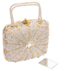 1960s Koret Vintage Bag Woven Gold & Silver Basket Handbag W Gold Hardware