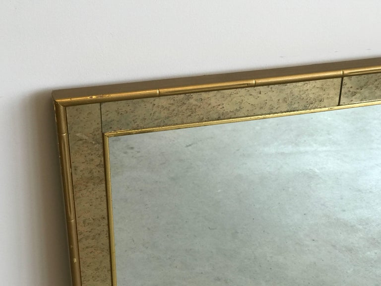 Chinoiserie 1960s Labarge Faux Bamboo Gilt Mirror with Mercury Glass Border For Sale
