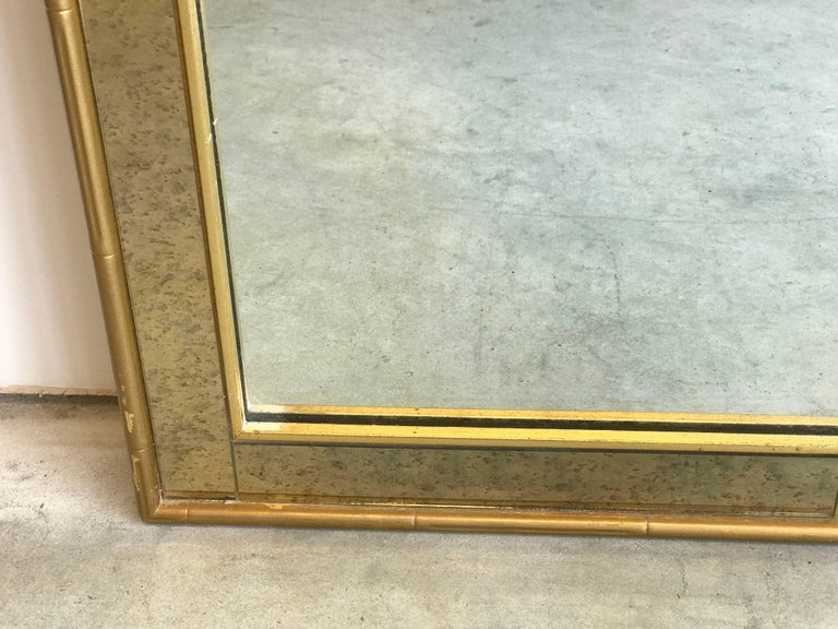 1960s Labarge Faux Bamboo Gilt Mirror with Mercury Glass Border In Good Condition For Sale In Richmond, VA
