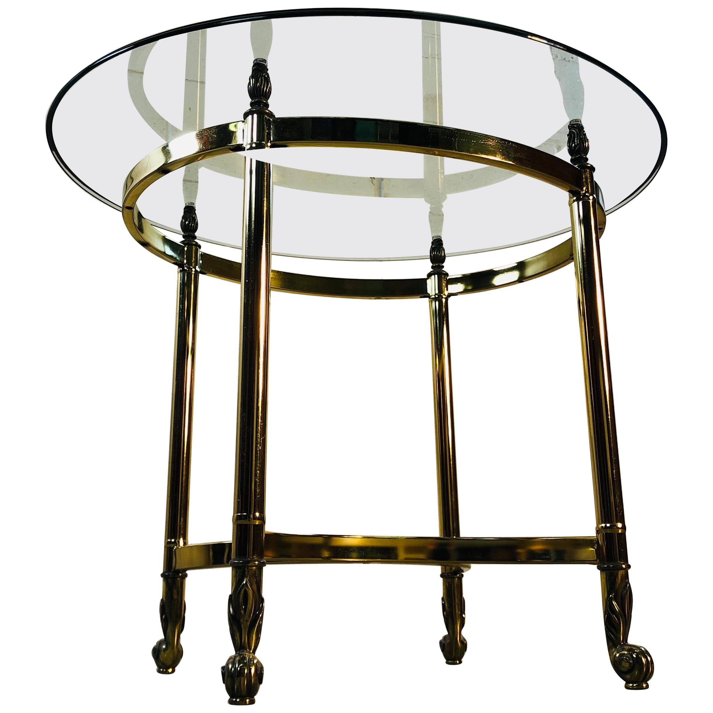 1960s LaBarge Oval Brass and Glass Side Table