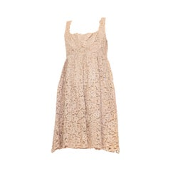 1960S Ecru Silk & Lurex Lace Babydoll Cocktail Dress
