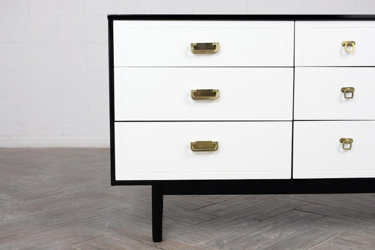 Hand-Carved Mid Century Modern White Lacquered Dresser For Sale