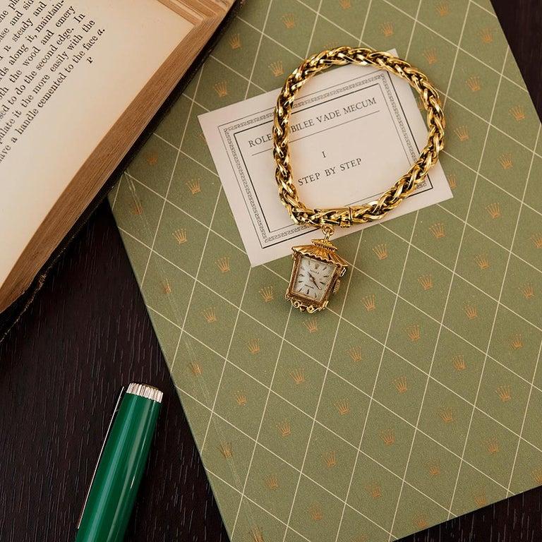 "Women's 1960s Lady's Rolex ""Lantern"" Charm Bracelet Watch For Sale"