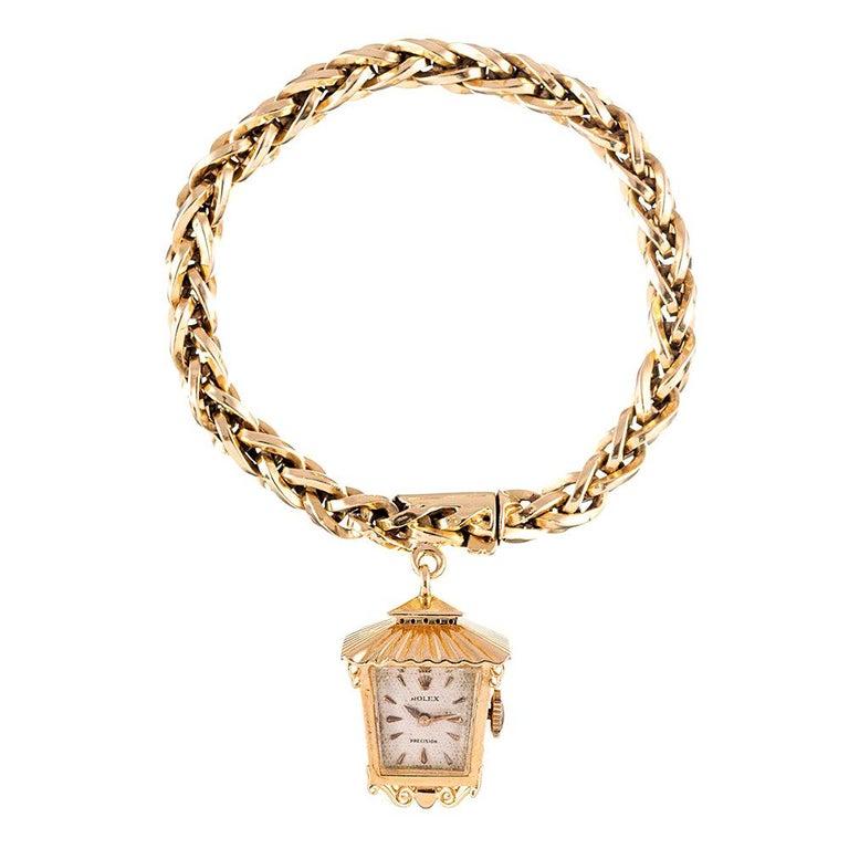 """1960s Lady's Rolex """"Lantern"""" Charm Bracelet Watch For Sale"""