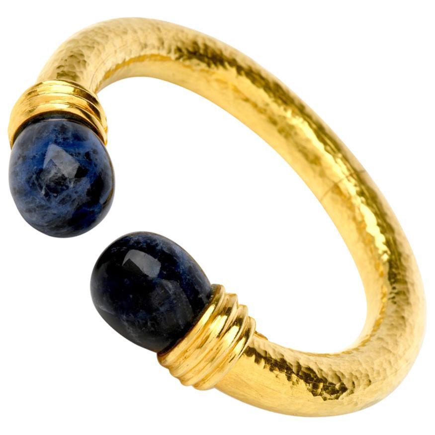 1960s Lalaounis Sodalite 22 Karat Gold Textured Cuff Bracelet