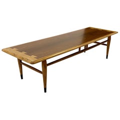 1960s Lane Acclaim Series Coffee Table Dovetail Details Hickory and Walnut