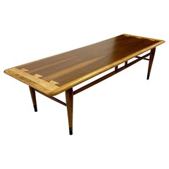 1960s Lane Acclaim Series Coffee Table with Hickory and Walnut Dovetail Details