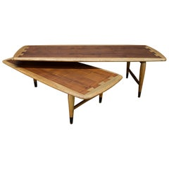 1960s Lane Acclaim Switchblade Pivoting Swivel Coffee Table Rustic Cabinmodern
