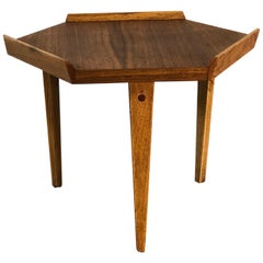 1960s Lane Furniture Walnut 6-Sided Small Side Table