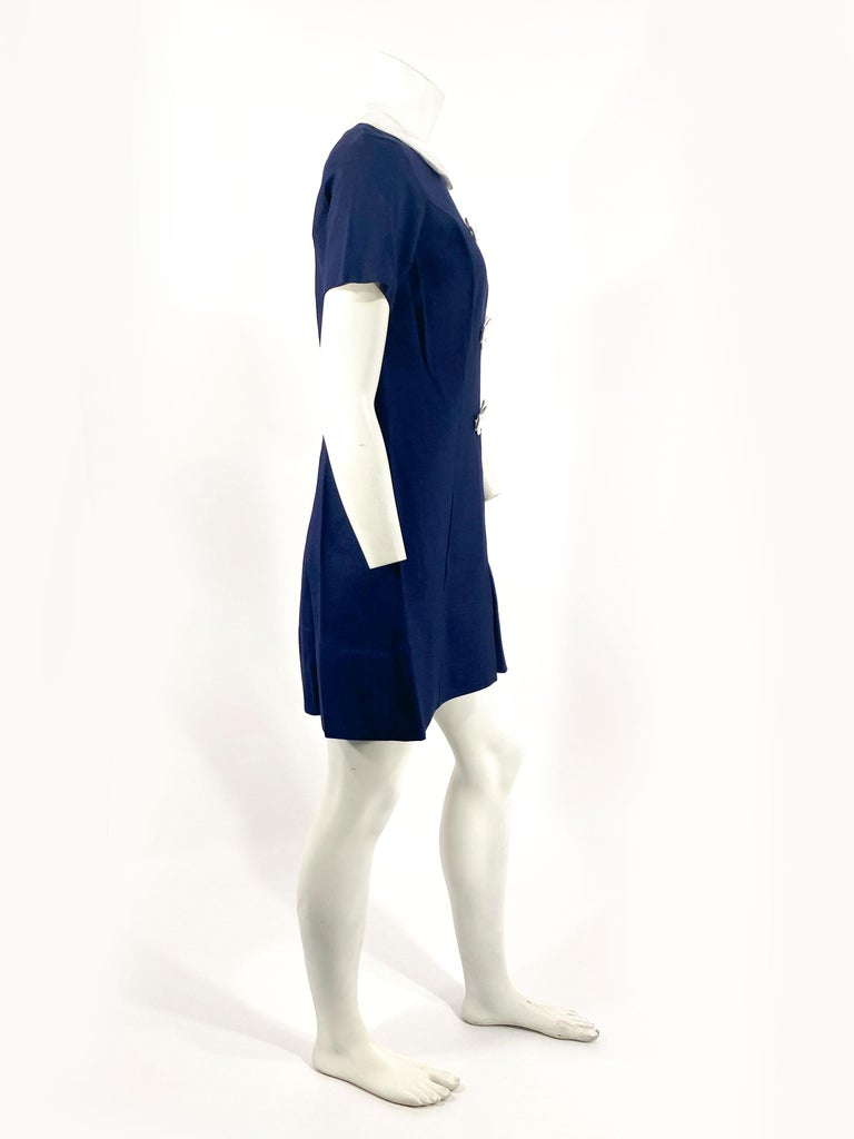 Purple 1960s Lanz Navy and White Mini Shift Dress For Sale