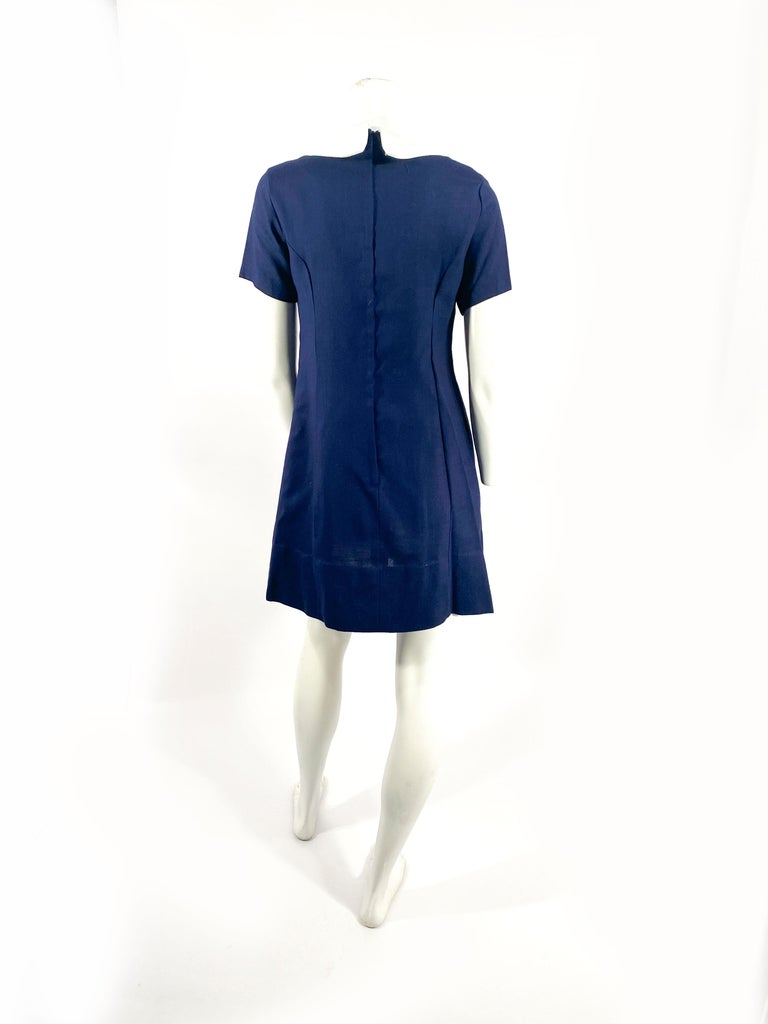 Women's 1960s Lanz Navy and White Mini Shift Dress For Sale