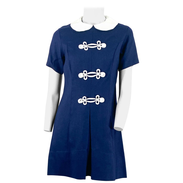 1960s Lanz Navy and White Mini Shift Dress For Sale
