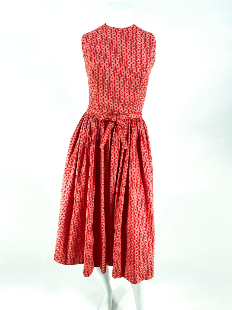 1960s Lanz Red Heart Calico Printed Cotton Dress For Sale 6