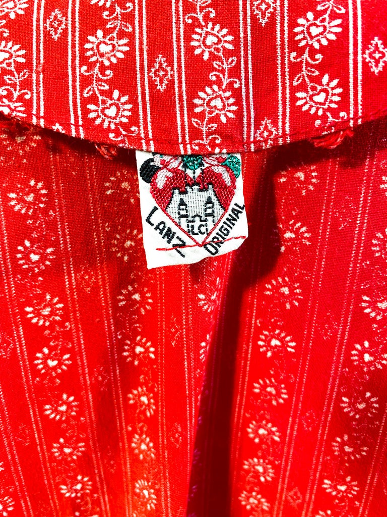 1960s Lanz Red Heart Calico Printed Cotton Dress For Sale 7