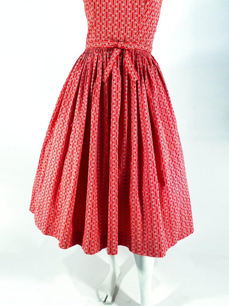 Women's or Men's 1960s Lanz Red Heart Calico Printed Cotton Dress For Sale
