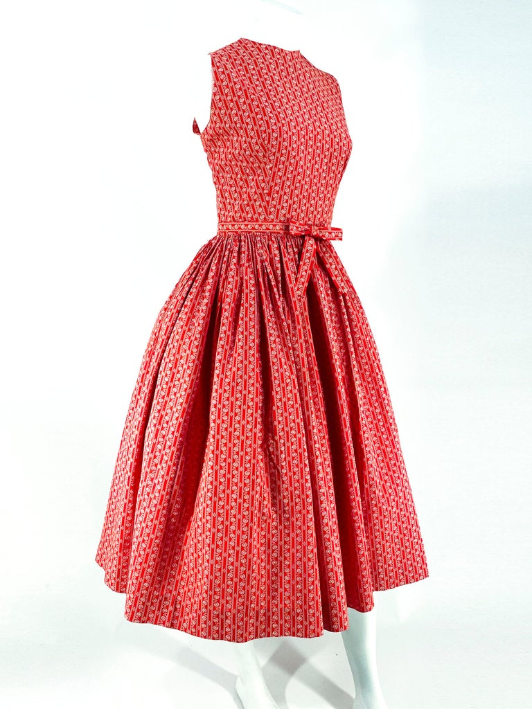 1960s Lanz Red Heart Calico Printed Cotton Dress For Sale 1