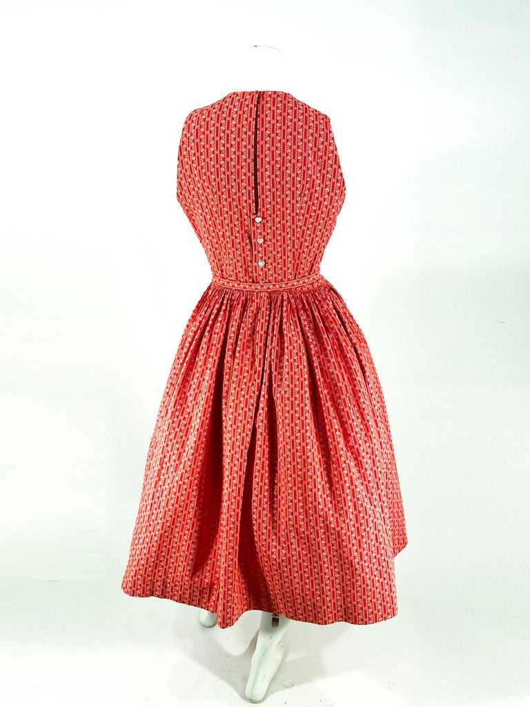 1960s Lanz Red Heart Calico Printed Cotton Dress For Sale 3