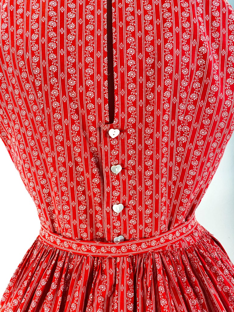 1960s Lanz Red Heart Calico Printed Cotton Dress For Sale 5