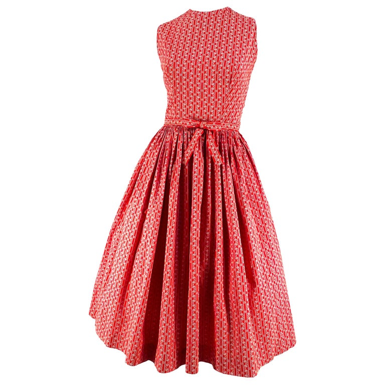1960s Lanz Red Heart Calico Printed Cotton Dress For Sale