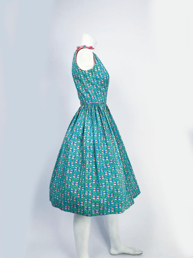 1960s Lanz Tulip Printed Summer Dress In Good Condition For Sale In San Francisco, CA