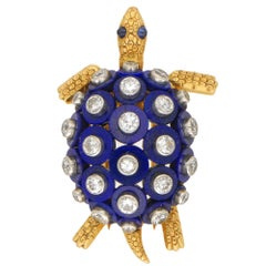 Cartier Lapis Lazuli, Diamond and Sapphire Turtle Brooch Set in 18k Yellow Gold