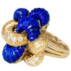 1960s Lapis Lazuli Diamond Gold Ring