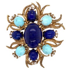 1960s Lapis Lazuli Turquoise Diamond 14 Karat Yellow Gold Vintage Brooch Pin