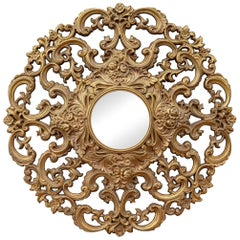 1960s Large Baroque Style Gold Filigree Round Mirror