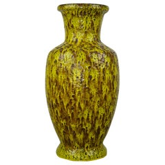 1960s Large Bay Ceramic Fat Lava Vase , Yellow, Green, Brown, Western Germany