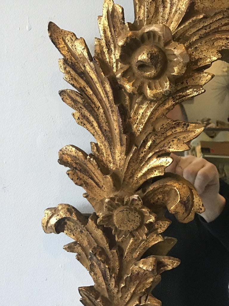 1960s Large Carved Giltwood Italian Floral Mirror ( Pair Available) For Sale 1