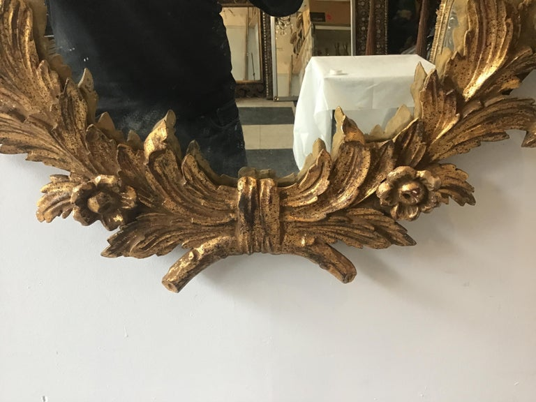 1960s Large Carved Giltwood Italian Floral Mirror ( Pair Available) For Sale 2