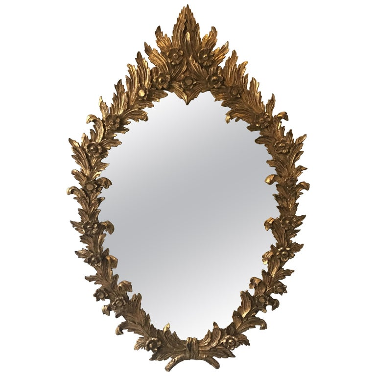 1960s Large Carved Giltwood Italian Floral Mirror ( Pair Available) For Sale