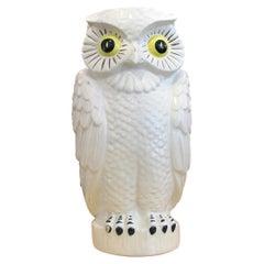 1960s Large Continental White Glazed Ceramic Owl Vase, Planter or Umbrella Stand