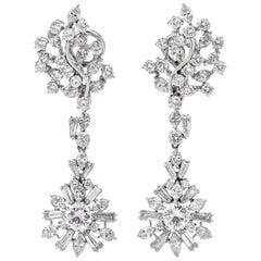 1960s Large Diamond Chandelier Platinum Diamond Drop Earrings