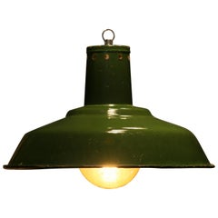 1960s Large Enamelled Factory Lamp Model 33 Mi 'Green Version'