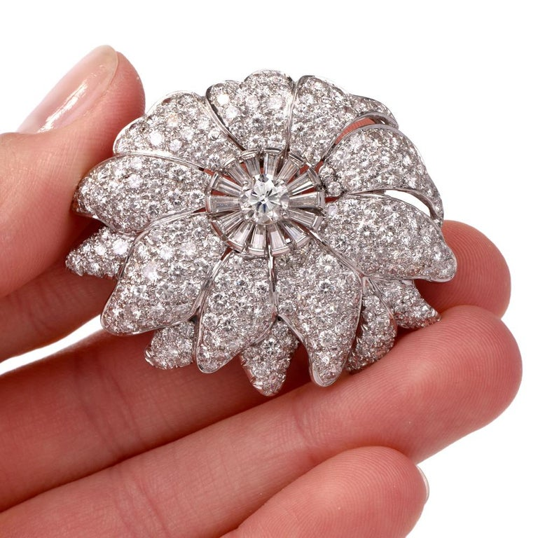 1960s Large Floral Diamond Platinum Lapel Brooch In Excellent Condition For Sale In Miami, FL