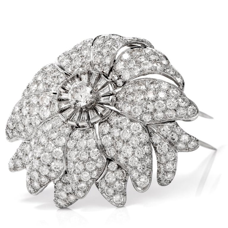 1960s Large Floral Diamond Platinum Lapel Brooch For Sale 1