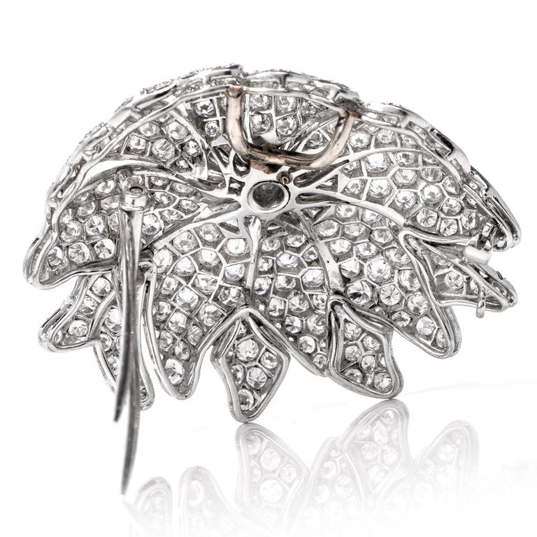 1960s Large Floral Diamond Platinum Lapel Brooch For Sale 2