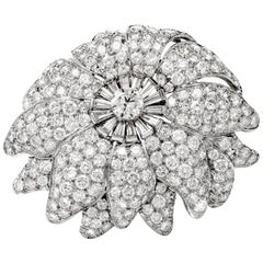 1960s Large Floral Diamond Platinum Lapel Brooch