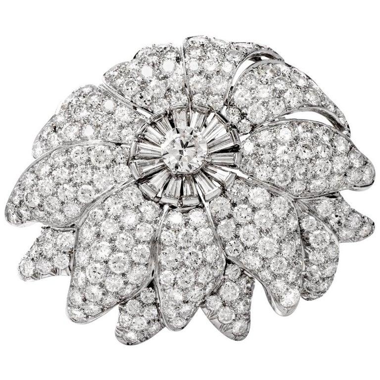 1960s Large Floral Diamond Platinum Lapel Brooch For Sale