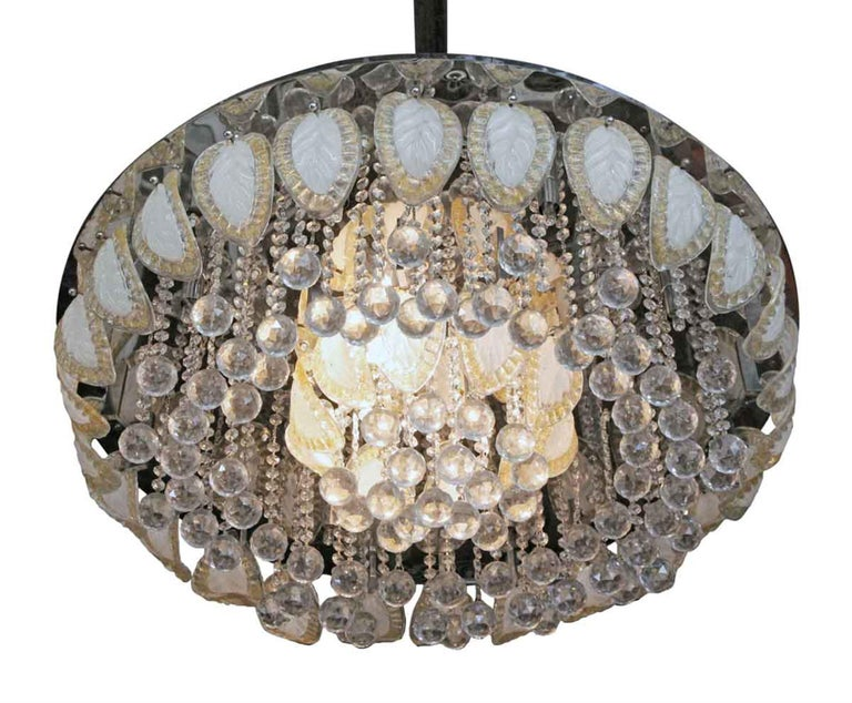 American 1960s Large Flush Mount Ballroom Chandelier with Glass Leaves a Faceted Crystals For Sale