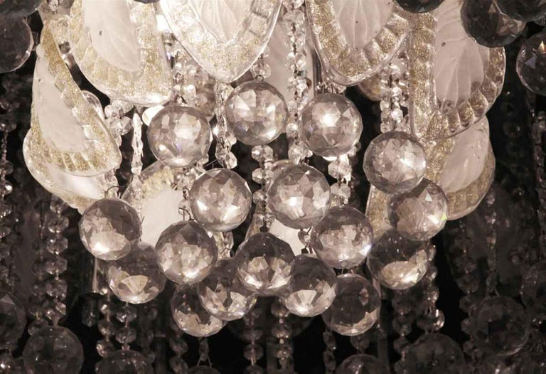 Mid-20th Century 1960s Large Flush Mount Ballroom Chandelier with Glass Leaves a Faceted Crystals For Sale