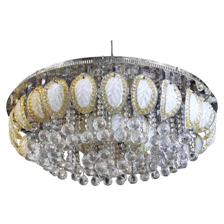 1960s Large Flush Mount Ballroom Chandelier with Glass Leaves a Faceted Crystals For Sale