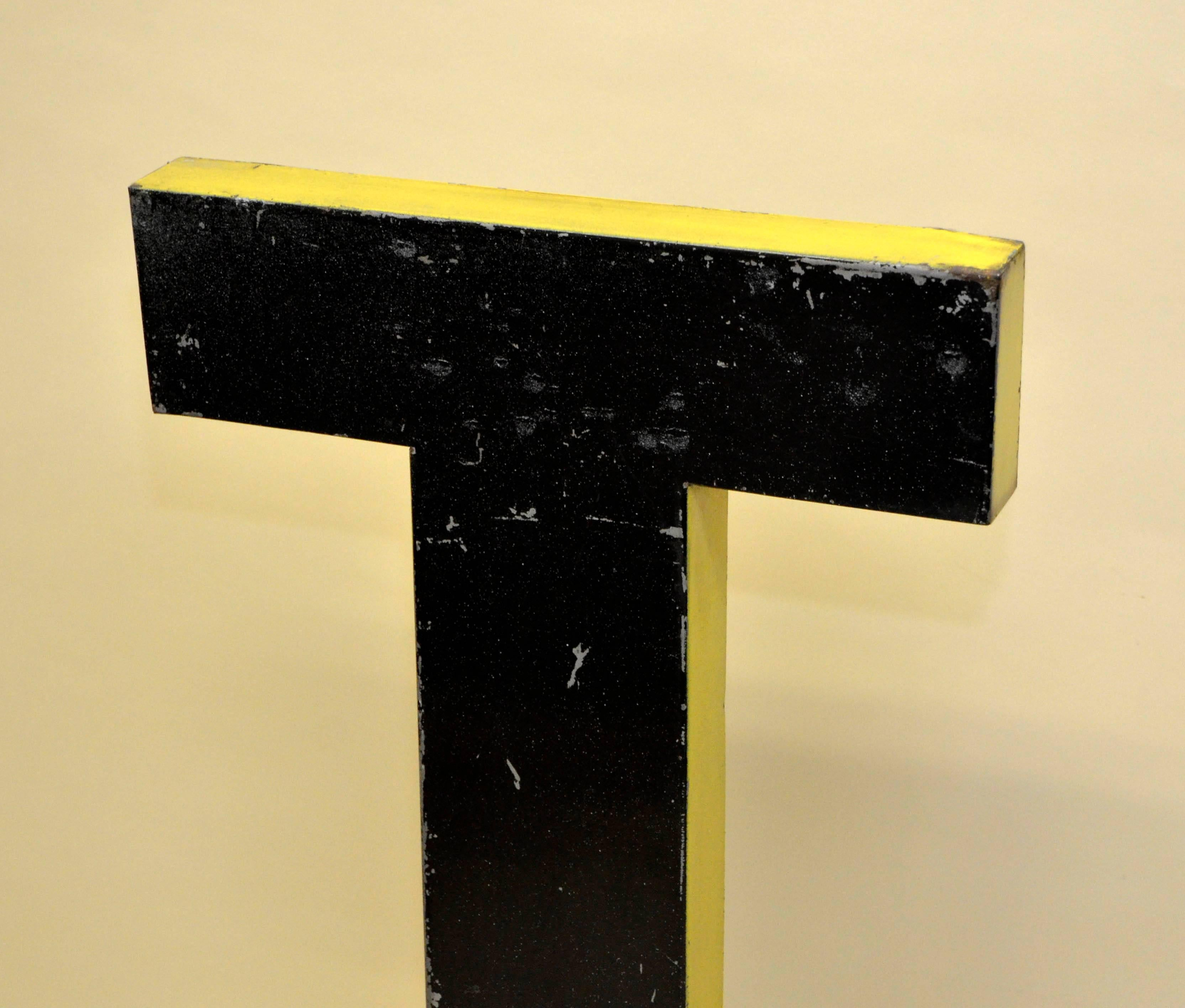 1960s Large French Black Vintage Metal Capital Letter T with Yellow ...